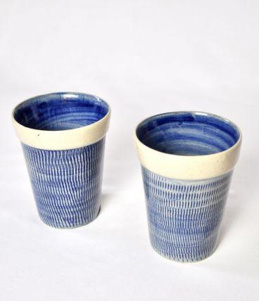 2 mugs  Céramique texturée bleue