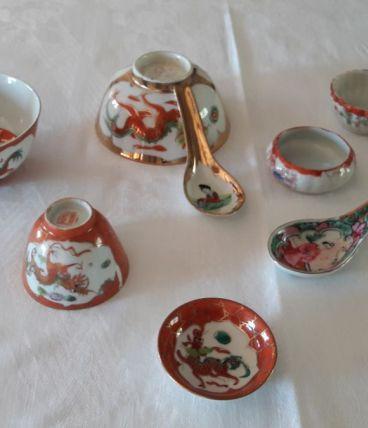 Ancienne vaisselle asiatique en porcelaine fine Vintage