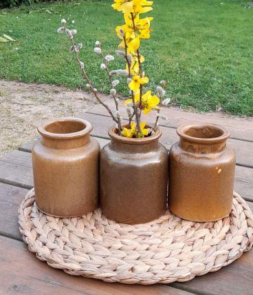 3 petits pots ou vases en gres emaillé