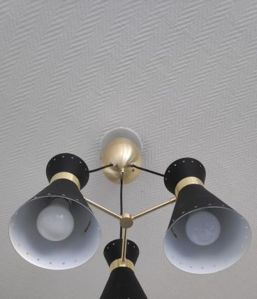 lustre 3 diabolos en métal noir et doré