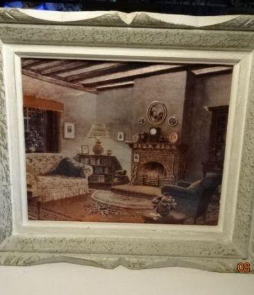 Tableau sur tissu scène d'intérieur ancien