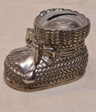 Petit chausson tirelire en metal