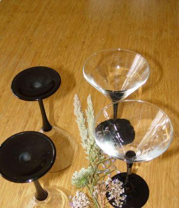 4 verres à Martini Luminarc à pied noir
