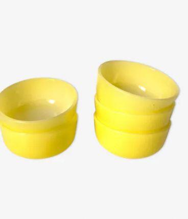 5 ramequins en verre jaune  HUILE LESIEUR- vintage -retro