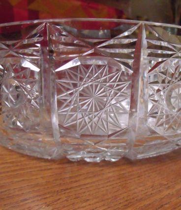 saladier compotier en cristal de Sèvres ciselé
