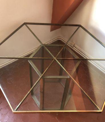 Table de salle à manger en verre et laiton Roche Bobois 70's