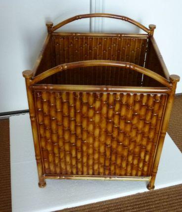 cache pot pour plante en métal imitation bambou