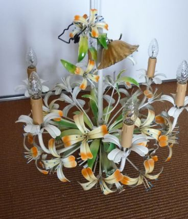 lustre en métal fleurs peintes rococo
