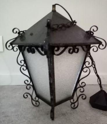 Lanterne fer forgé et verre cathédral