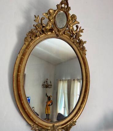 Miroir de château Napoléon lll chérubins et médaillon