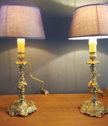 Paire de lampes bougeoirs Bronze doré