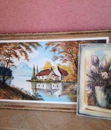 Lot de deux toiles de peintures anciennes / vintage