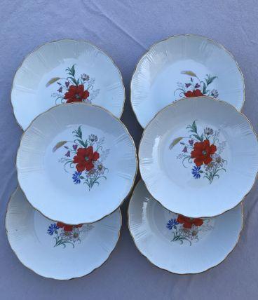 Série de 6 assiettes creuses  - en porcelaine