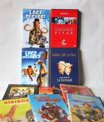Lot de 10 dvd pour enfants, jeune public. Animation, comique