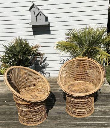 2 fauteuils osier style Emmanuelle, vintage, TBE