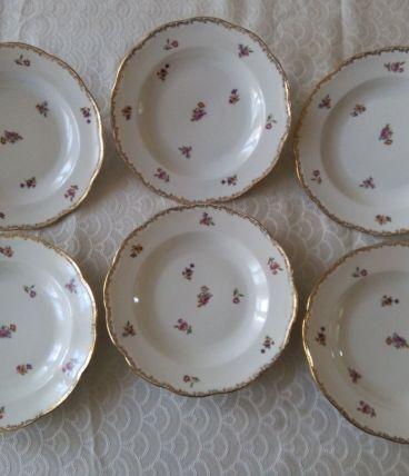 6 assiettes creuses Porcelaine Emaux de LIMOGES