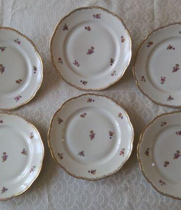 6 assiettes plates Porcelaine Emaux de LIMOGES