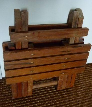 petit siège pliant en bois peche déco vintage