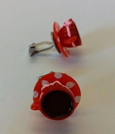 Boutons de manchette tasses de café rouges