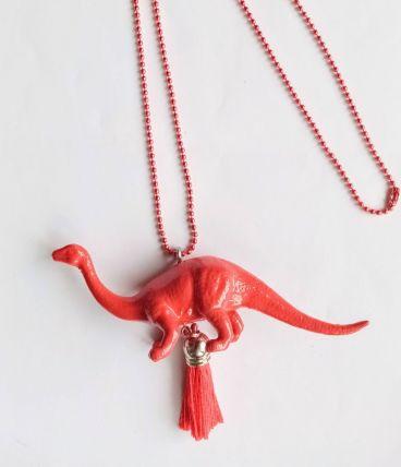 Collier dinosaure rouge, Brachiosaure, fille, garçon