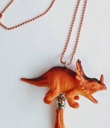 Collier dinosaure orange, Tricératops, fille, garçon
