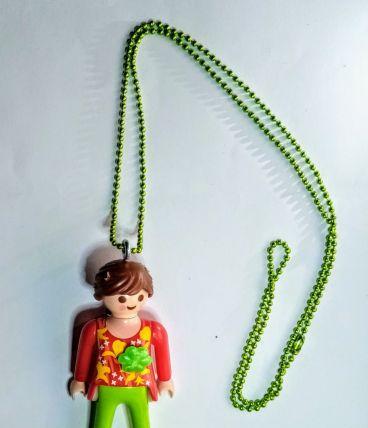Collier Playmobil, vert, prénom personnalisable