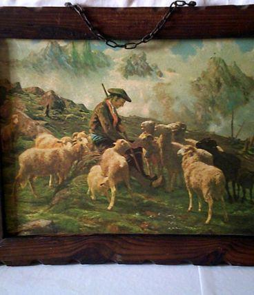 Tableau berger garde un troupeau de mouton