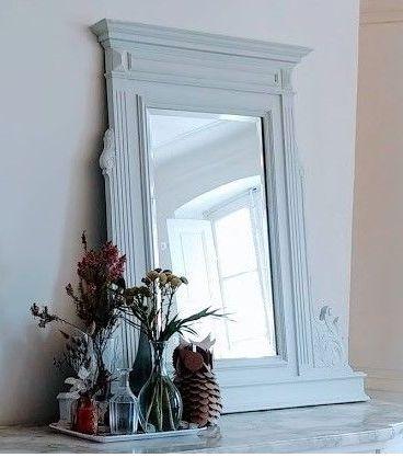 Grand miroir patiné blanc glacier