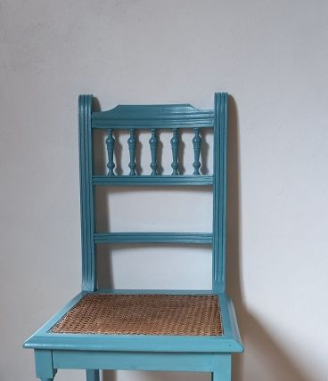 Chaise bleu turquoise cannage