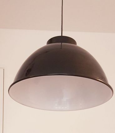 Grande lampe suspension industrielle / atelier noire - 50cm