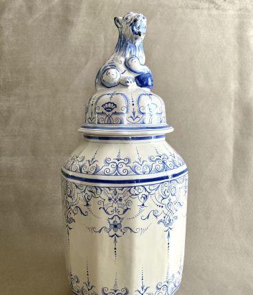 Grand pot couvert style Delft