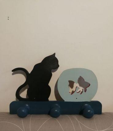 Porte manteau mural '' chat et poisson s n ''