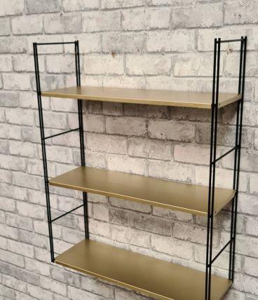 etagere acier   string   vintage 1960  bronze et noir , 47x6