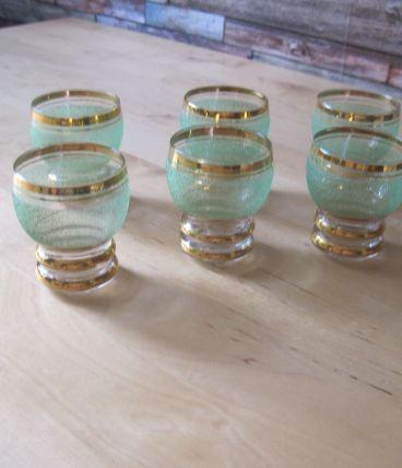 6 verres a  digestifs 1940/50 bas sablées  vintage