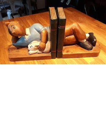 Serre-livres tintin en bois