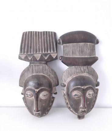 Masques couple africain baoulé,masque portrait Ndoma Mblo