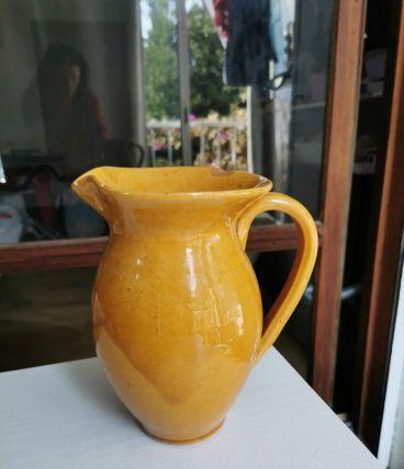 Cruche jaune céramique vintage hauteur 22.5 cm