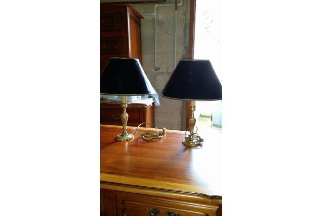 Paire de lampes laiton avec abat jour