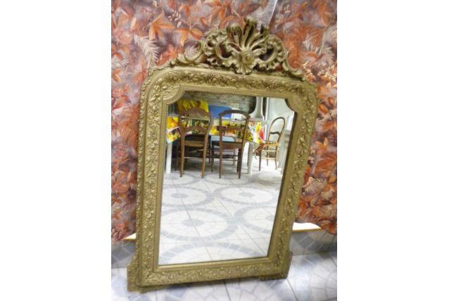 Miroir ancien empire en bois et stuc doré