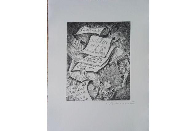 Gravure originale signée  - Alice au pays des merveilles