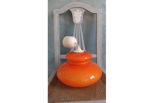 Suspension  en verre opaline orange