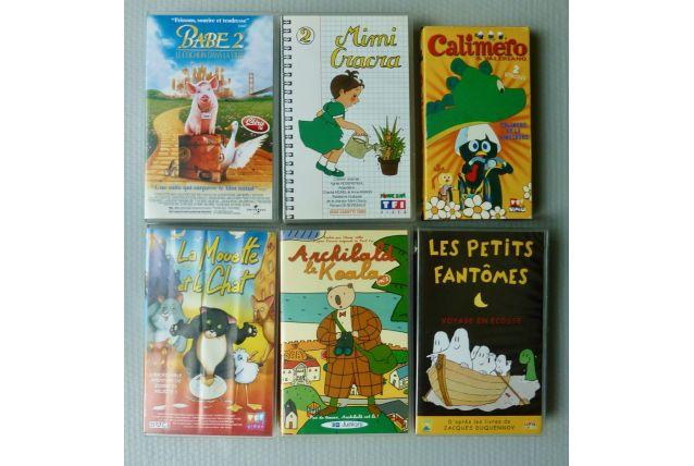 6 cassettes VHS dessins animés divers pour enfants