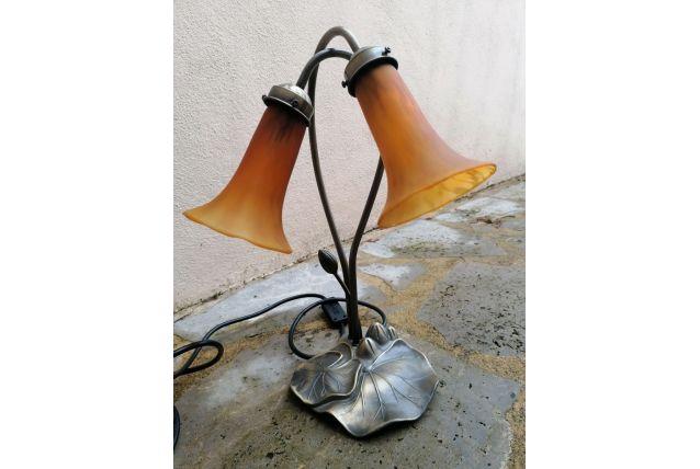 Lampe style art déco 2 tulipes