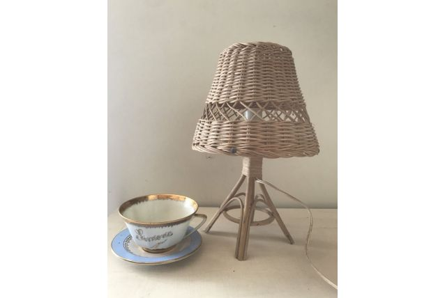 Petite lampe vintage rotin