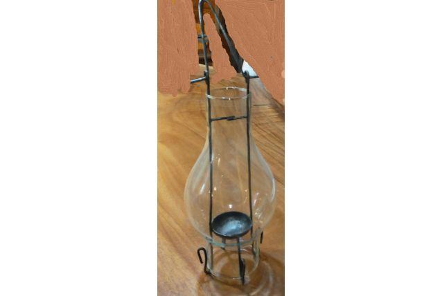 lanterne en verre avec son pied de suspente
