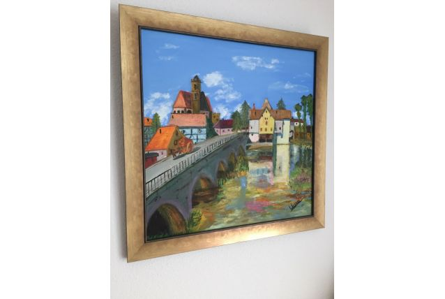 tableau avec cadre peint huile signé par moi