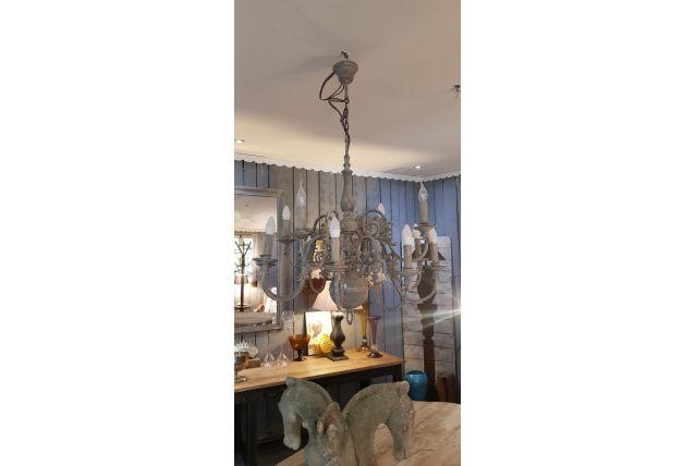 Ancien lustre hollandais 12 branches en laiton patiné