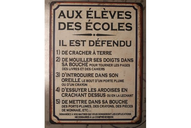Plaque métal vintage Aux élèves des écoles