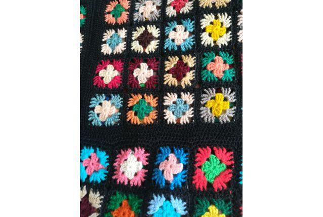 Plaid carré afghan 70s