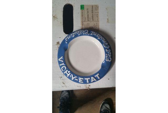 Cendrier Vichy bleu et blanc